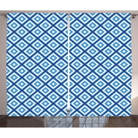 Abstract Curtains 2 Panels Set, Geometric Diamond Shaped Internal Squares Artistic Minimalist Design, Window Drapes for Living Room Bedroom, 108W X 96L Inches, Navy Sky Blue White, by Ambesonne