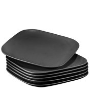 "Bruntmor 10"" Square Dinner Plates, Ceramic Dinner Dishes That Are Chip Resistant, BPA, Cadmium And Lead Free, Microwave, Oven and Dishwasher Safe (6-piece Set, Matte Black)"
