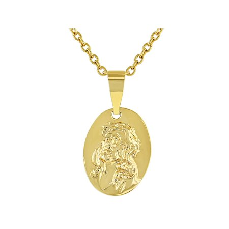 18k Gold Plated Sacred Heart of Jesus Small Medal Kids Pendant Necklace 16