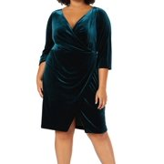 Women's Dress Plus Faux Wrap Velvet 16W