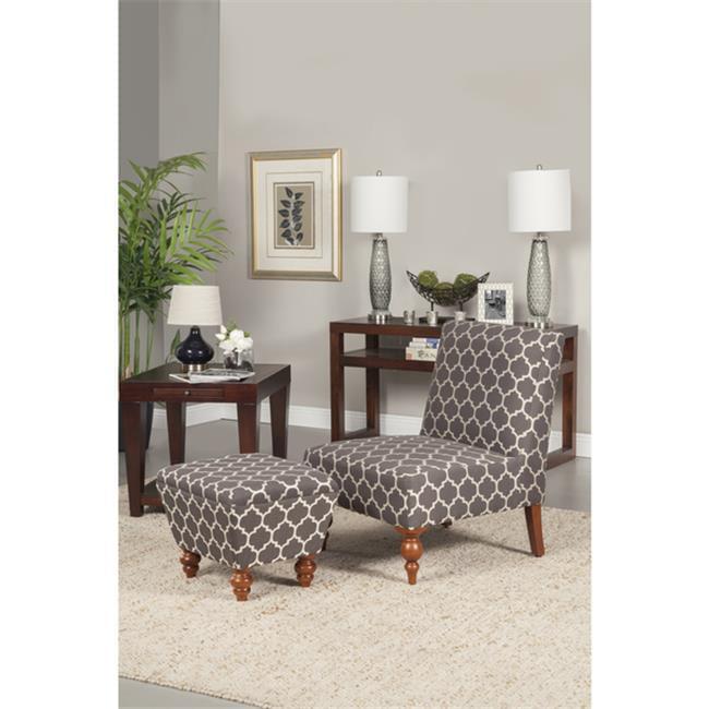 Kinfine USA K6381-F1581 Armless Accent Chair And Ottoman Set Cream & Grey by Kinfine USA Inc