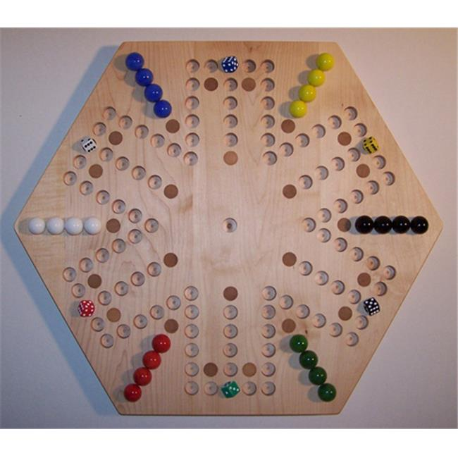 Charlies Woodshop W-1937alt.-3 Wooden Marble Game Board - Hard Maple with 24 Birch Inlaid Spots