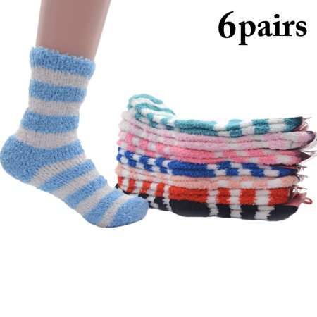 6 Pairs Plush Socks,Kapmore Fashion Stripe Pattern Cotton Fuzzy Socks Winter Warm Socks for Women Ladies