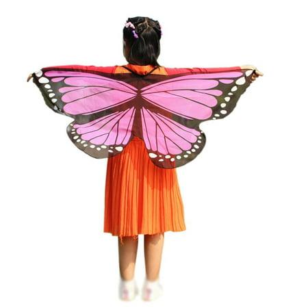 Kids Girls Boys Butterfly Wings Princess Fairy Shawl Cape Party Dance Wear ()