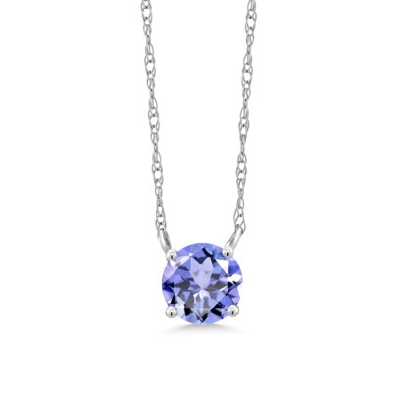 0.46 Ct Round Blue Tanzanite 18K White Gold Necklace Bold Turquoise Necklace