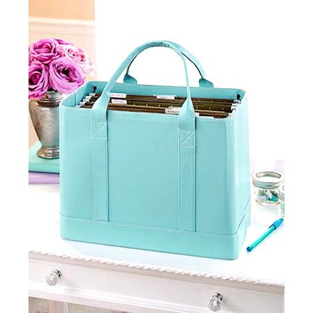 Document Container (Blue Chic Portable File Folder Organizer Document Storage Bag Fashion Tote)