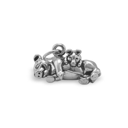 Pig Charm with Piglet Sterling Silver Antiqued (Piglet Heart Charm)