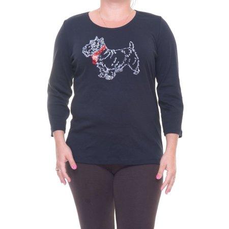 Karen Scott Women's Scoop-Neck Deep Black Top Size L ()