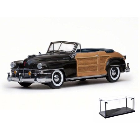 Diecast Car & LED Display Case Package - 1948 Chrysler Town & Country Convertible, Gunmetal Gray - Sun Star 6141 - 1/18 Scale Diecast Model Toy Car w/LED Display Case