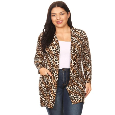 - MOA COLLECTION Women's Plus Size Pattern Print Long Sleeve Pocket Open Front Casual Duster Cardigan