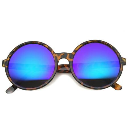 2fb5e47bd1 sunglassLA - Retro Oversize Transparent Nose Bridge Colored Mirror Lens  Round Sunglasses 57mm - 57mm - Walmart.com