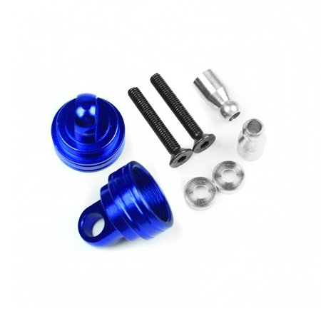 Traxxas Rustler 1:10 Aluminum Alloy Ultra Shock Cap Hop Up Upgrade, Blue by Atomik RC - Replaces Traxxas Part 3767 ()