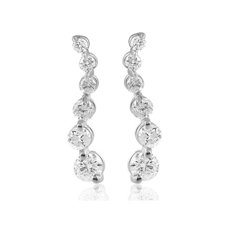 Ladies 1/2 cttw Diamond Journey Earrings Studs 14K White Gold