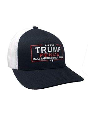 Trenz Shirt Company Political Trump Pence Embroidered Meshback Trucker Hat-Black-White Mesh