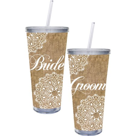 Bride & Groom Burlap 20 Oz. Extra Large Insulated Acrylic Cup W/Straw and Twist Off Lid 2 Assorted (Gifts For Bride From Groom)