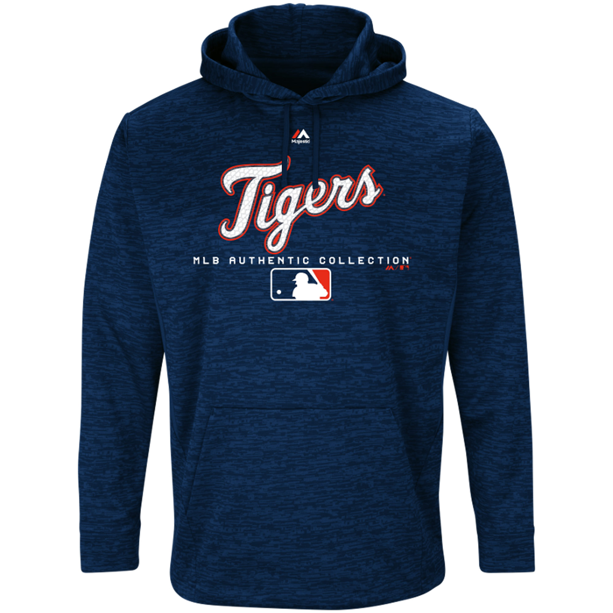 Detroit Tigers Majestic Authentic Collection Team Drive Ultra-Streak Fleece Pullover Hoodie - Navy