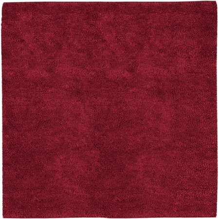 8' x 8' Solid Crimson Red Hand Woven Square New Zealand Wool Shag Area Throw Rug