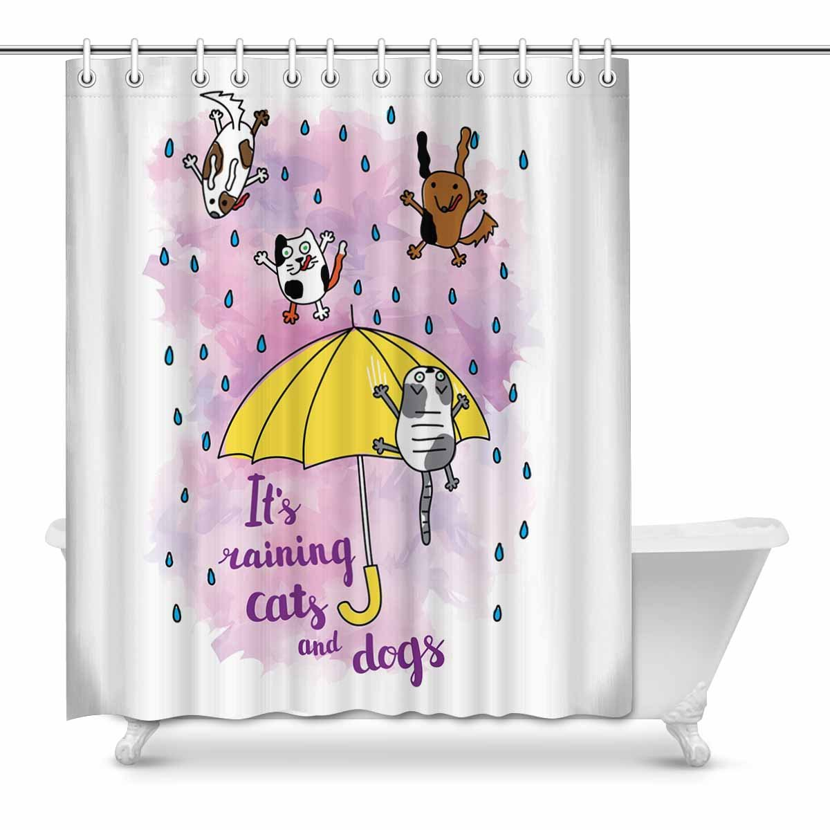 Mkhert Funny Watercolor It S Raining Cats And Dogs Decor Waterproof Polyester Bathroom Shower Curtain Bath 60x72 Inch Walmart Com