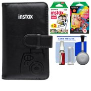Fujifilm Instax Mini Wallet 108 Photo Album (Black) with 20 Color Prints & 10 Rainbow Prints + Kit for 7S, 8, 25, 50S, 90 Cameras