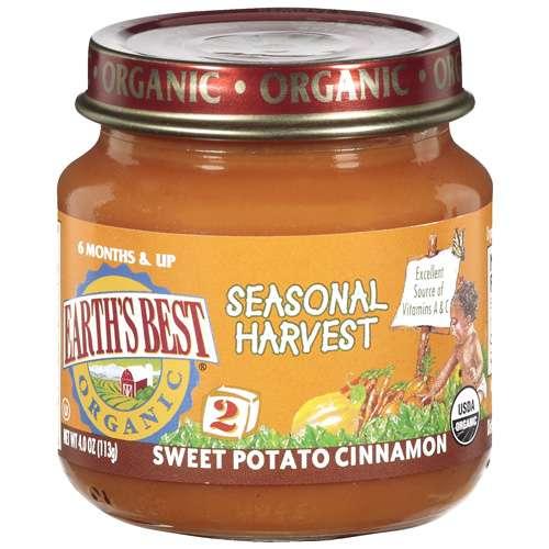 Earth's Best Stage 2 Sweet Potato Cinnamon Seasonal Harvest, 4 Oz