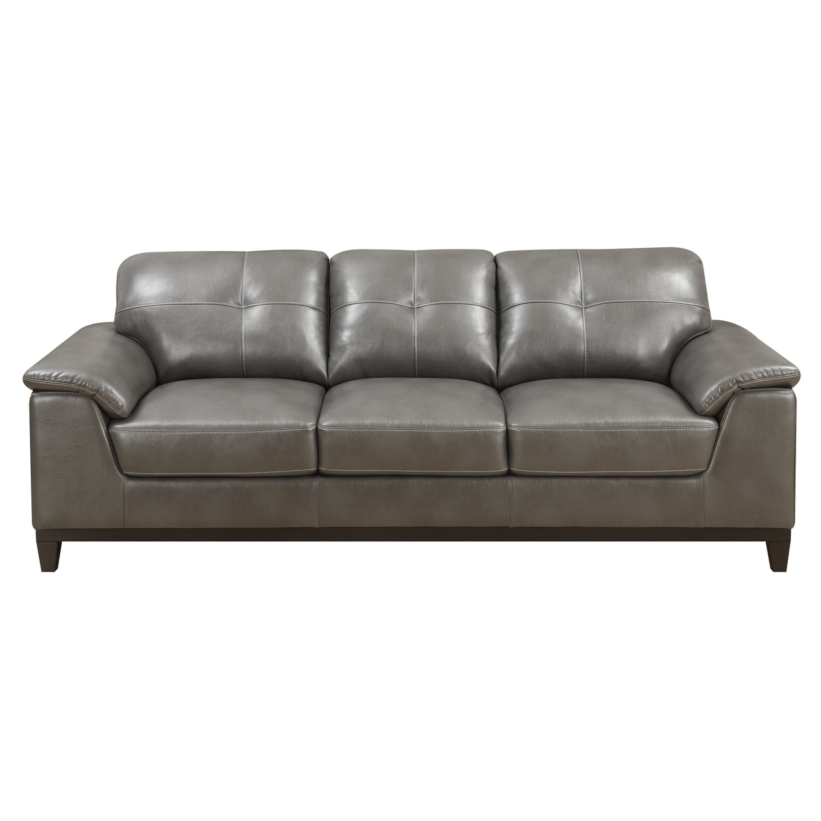 Emerald Home Marquis Faux Leather Sofa   Gray