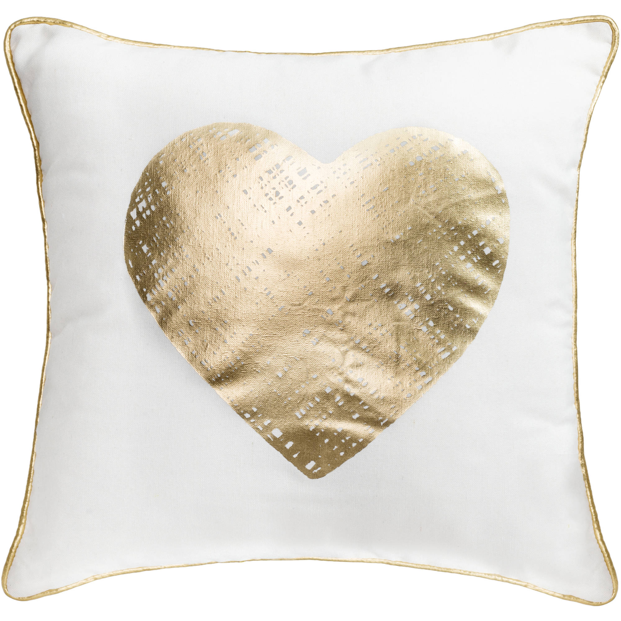 "Better Homes and Gardens Gold Heart 18"" x 18"" Poly/Cotton Fabric Gold Foil Pillow"