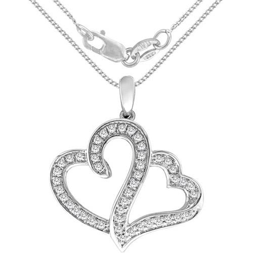 """Heart 2 Heart 1/2 Carat T.W. Diamond Pendant in Sterling Silver, 20"""""""
