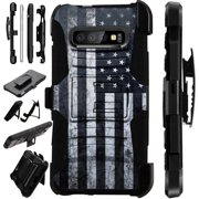 WORLD ACC LuxGuard Holster Case Compatible with Samsung Galaxy S10 5G (2019) Hybrid Phone Cover (Gray US Flag)