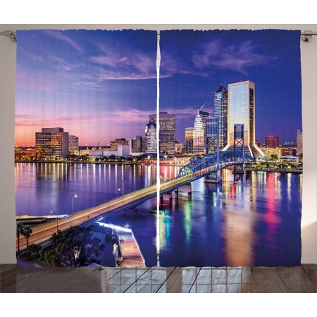 United States Curtains 2 Panels Set  Jacksonville Florida Skyline Vibrant Night St  Johns River Scenic  Window Drapes For Living Room Bedroom  108W X 63L Inches  Royal Blue Pale Pink  By Ambesonne