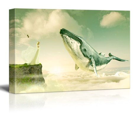 wall26 Canvas Wall Art - Fantasy Series - Girl on and Cliff with a Flying Whale above the Clouds - Giclee Print Gallery Wrap Modern Home Decor Ready to Hang - 16x24 inches (A Girls Fantasy)