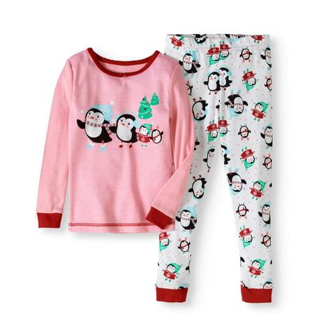 Komar Kids Toddler Girl Holiday Penguin Cotton Tight Fit Pajamas, 2pc Set