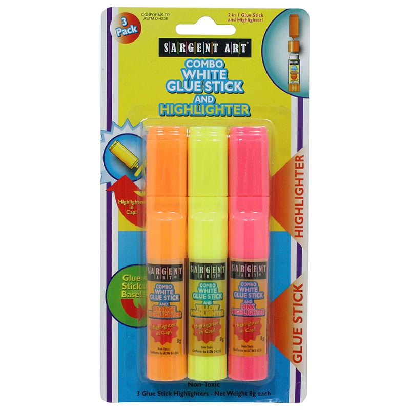 GLUE STICK WITH HIGHLIGHTER 3PK