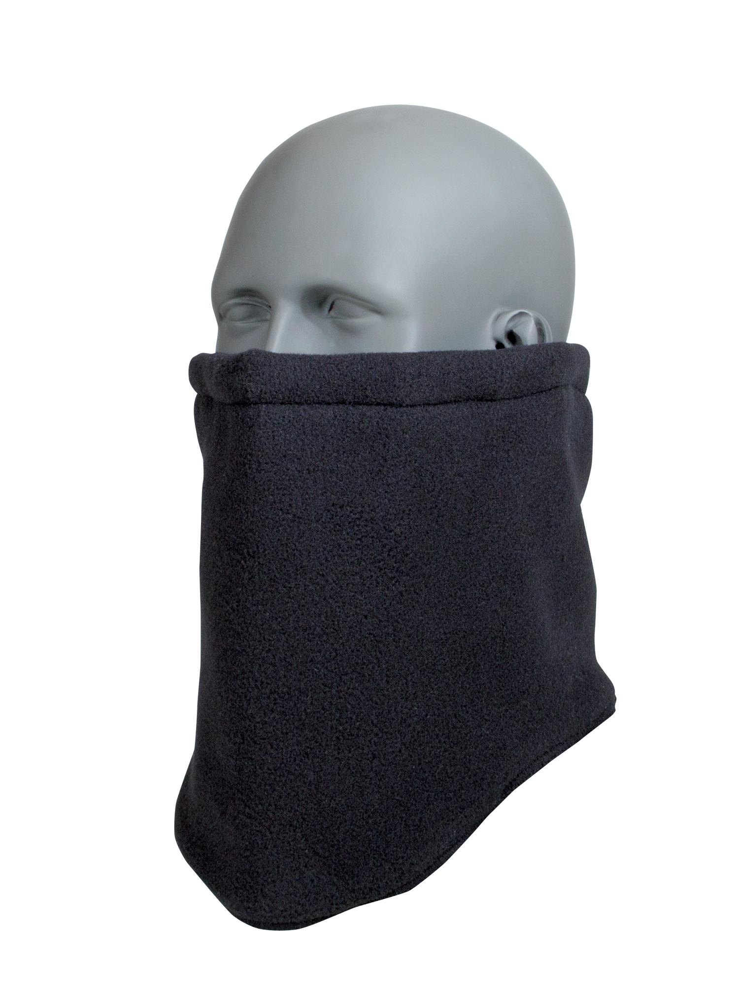 RefrigiWear Double Layer Thick Fleece Neck Gaiter with Adjustable Drawcord Black