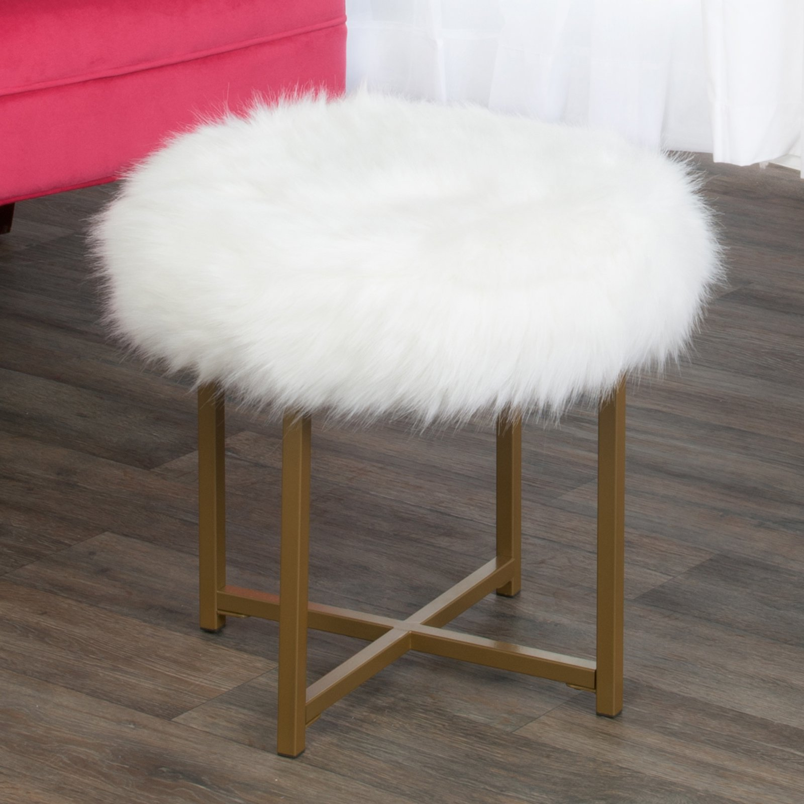 HomePop Faux Fur Round Stool, Multiple Colors