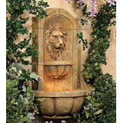 """John Timberland Roman Outdoor Wall Water Fountain with Light LED 29 1/2"""" High 2 Tiered Lion Head for Yard Garden Patio Deck Home"""