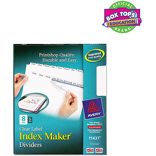 Avery Index Maker Clear Label Dividers 11437, 8-Tab, 5 Sets, White