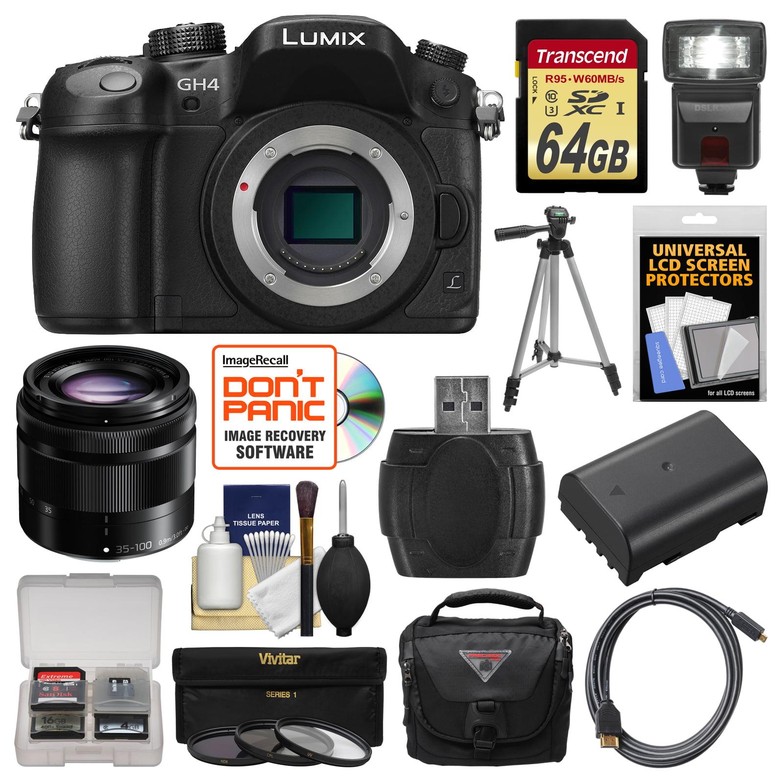 Panasonic Lumix DMC-GH4 4K Micro Four Thirds Digital Camera Body with 35-100mm Lens + 64GB Card + Case + Flash... by Panasonic