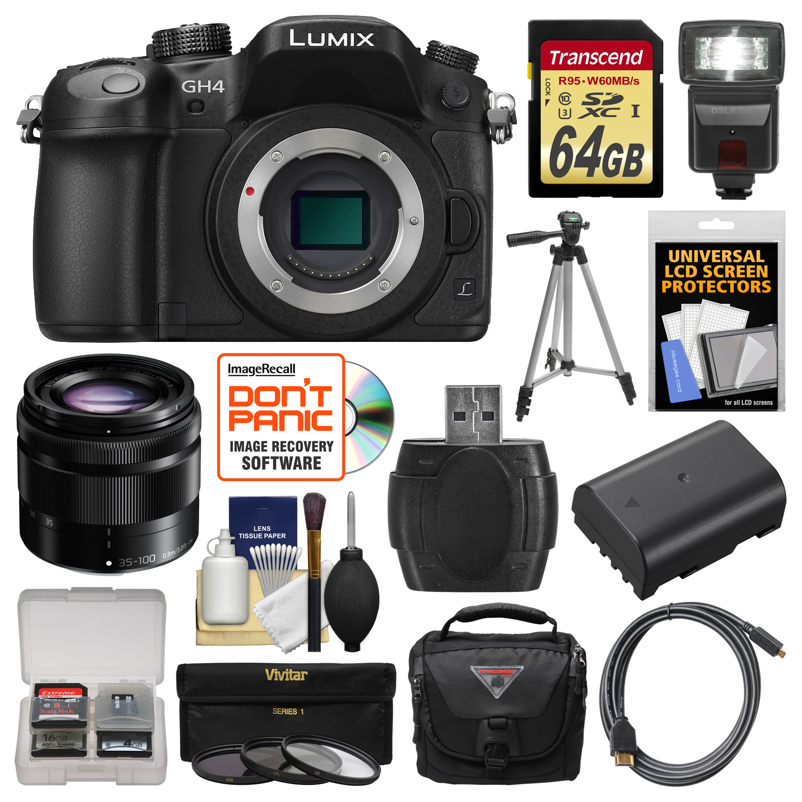 Panasonic Lumix DMC-GH4 4K Micro Four Thirds Digital Camera Body with 35-100mm Lens + 64GB Card + Case + Flash + Battery + Tripod + Filters Kit
