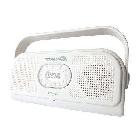 Pyle Surf Sound Party Water Resistant Cordless BT Stereo Speaker with Microphone For Cell Phone Talking (Color White) BT V2.1 TechnologyEnjoy Hands-Free Calls with Built-in MicrophoneConnect and Stream Audio from MP3 Players, Smartphones, PC, etc. Compatible with other BT-Enabled devicesAUX Input allows you to connect your device directly with the included 3.5mm CordIP-47 Water Resistant and Dustproof ConstructionStereo Speaker Sound and Bass OutputControl Volume and Song Selection CordlesslyPowered by 4 x AA Batteries (not included)Optional Power: DC 5V USB Cord IncludedBattery Life Provides Up to 15 Hour Playing Time10 Meter Max BT Streaming RangeTouch Button Control OperationGlossy UV Surface TreatmentFold-Out Stand and Carry HandleItem Dimensions: 7.80  x 3.80  x 1.50 Item Weight: 2.93lbs