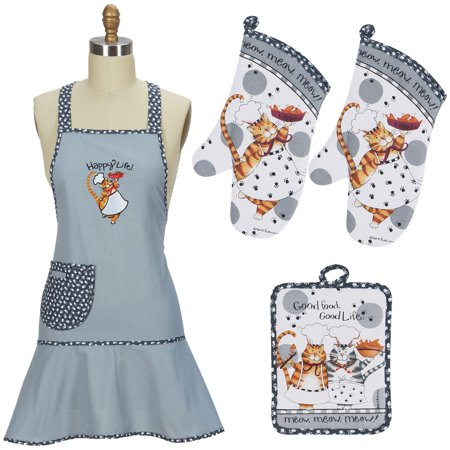 (Kay Dee Designs Happy Cat Apron, Pot holder and 2 Oven mitts, 4 piece set)