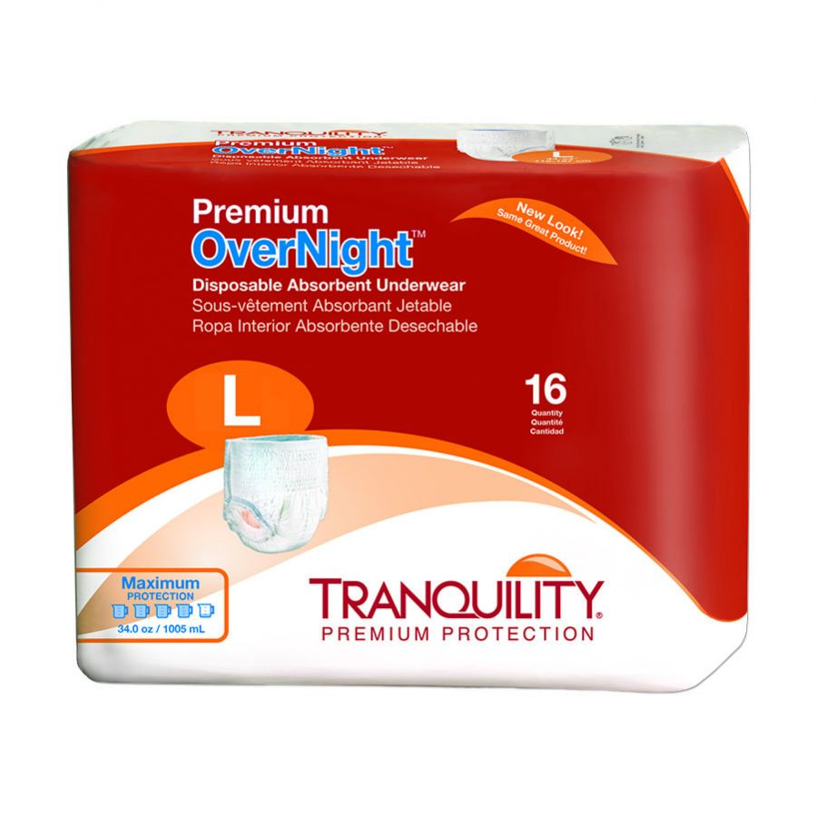 Premium OverNight Disposable Absorbent Underwear ''Large 44 - 54 Inch, 16 Count'' 4 Pack