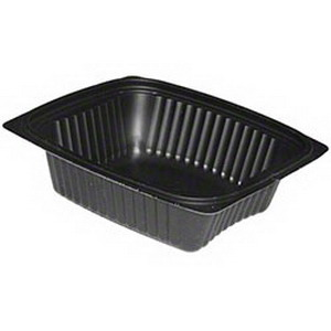 Pactiv Clearview Micromax Polypropylene Rectangle Food Container Black, 24 oz. | 250/Case