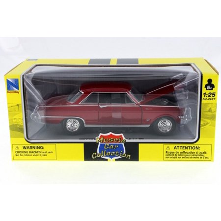 1964 Chevy Nova, Red - New Ray 71823A - 1/25 Scale Diecast Model Toy