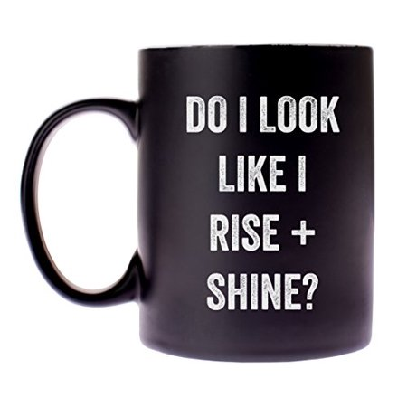 "Snark City's 14oz Ceramic Novelty Coffee Mug – ""Do I Look Like I Rise + Shine?"" - Funny + Sarcastic – Coffee mixed with a little bit of humor is"