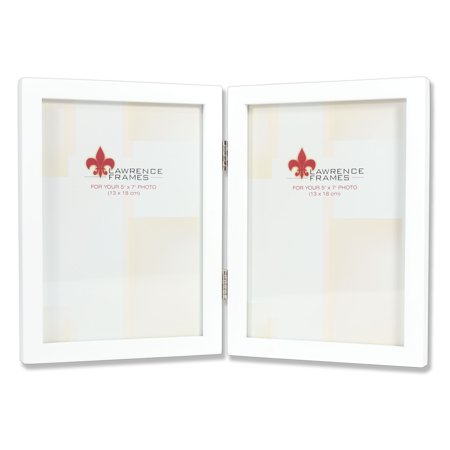 5x7 Hinged Double White Wood Picture Frame - Gallery Collection