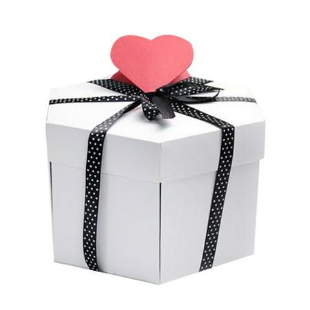 Hexagon Surprise Explosion Box DIY Scrapbook Photo Album For Valentine Wedding Gift ()