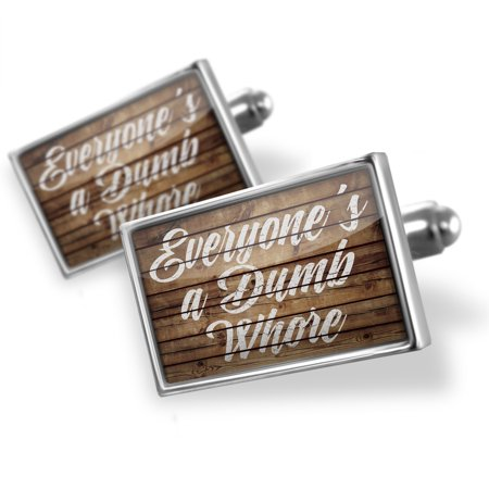 Cufflinks Painted Wood Everyone's a Dumb Whore - NEONBLOND (Wood Cufflinks)