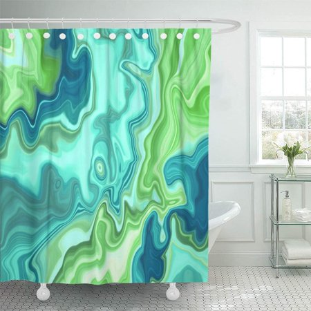 (PKNMT Abstract Marbled Marble Paint Liquid Marbling Effect Creative Green Agate Wavy Lines Waterproof Bathroom Shower Curtains Set 66x72 inch)