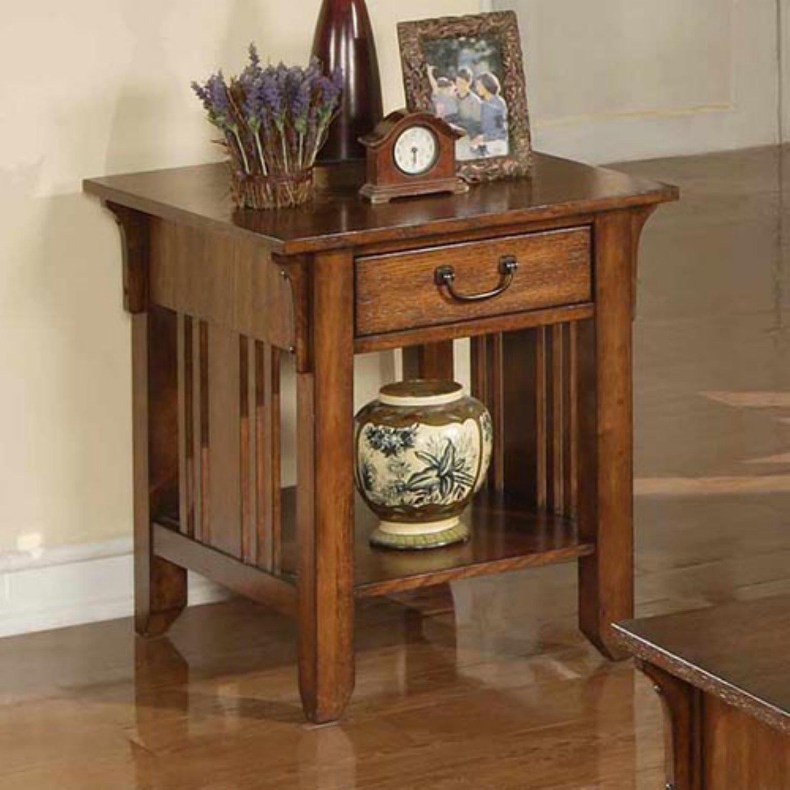 Zahara 1 Drawer End Table - Mission Oak