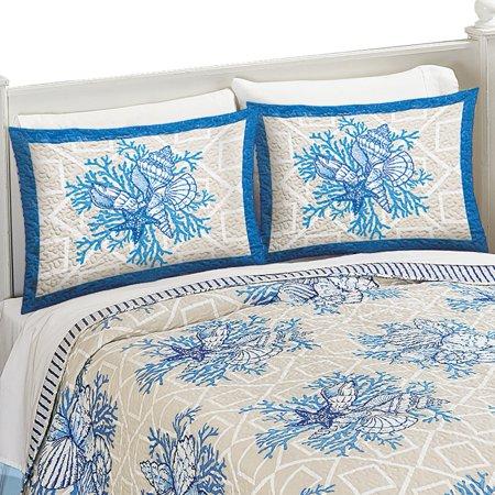 Coral Beach Coast Seashells Starfish Reef Pillow Sham, Blue